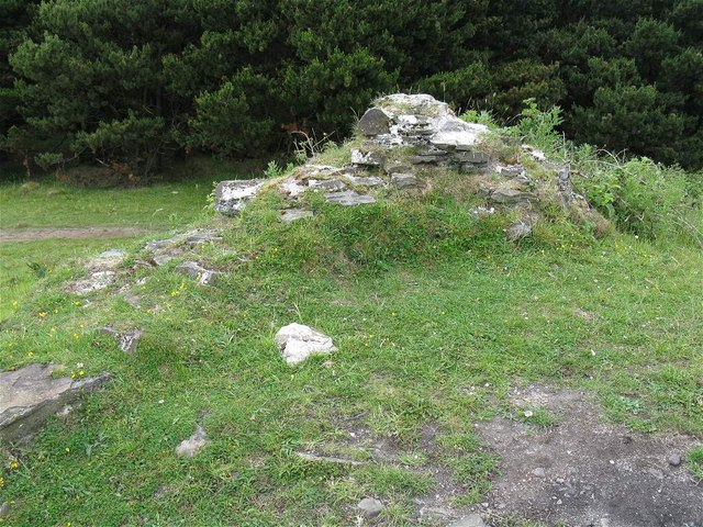Wall fragment at remains of Kilvey Hill Windmill