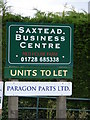 TM2564 : Sign at Saxtead Business Centre by Adrian Cable