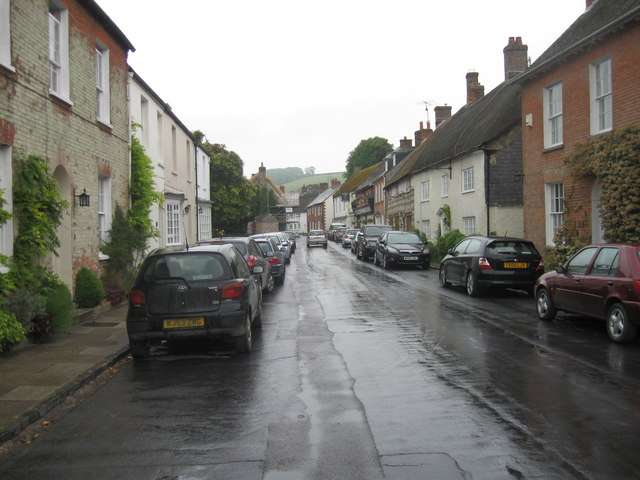Long Street, Cerne Abbas, in the wet
