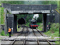 SJ9853 : Bridge, locomotive and tunnel portal near Cheddleton, Staffordshire by Roger  Kidd