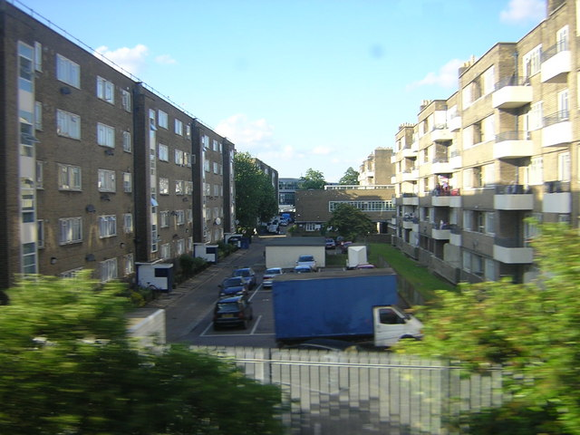 Guinness Trust estate, Loughborough Park, Brixton, from the train
