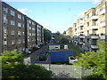 TQ3174 : Guinness Trust estate, Loughborough Park, Brixton, from the train by Christopher Hilton