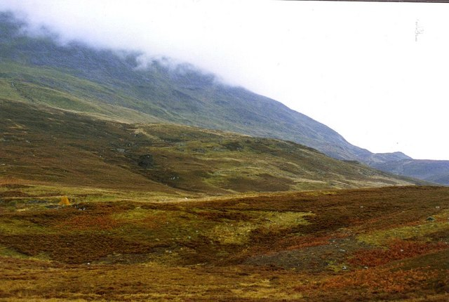 The lower slopes of Meall Luaidhe (776 metres ASL) in the cloud above Glen Lyon
