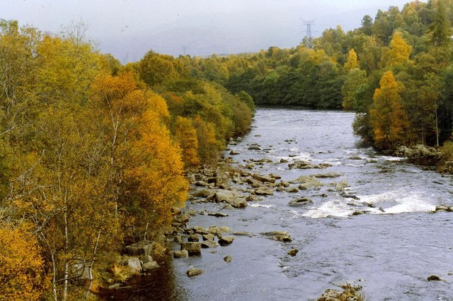 River Tummel, an outflow of Loch Rannoch, a mile from entering Loch Tummel to the east