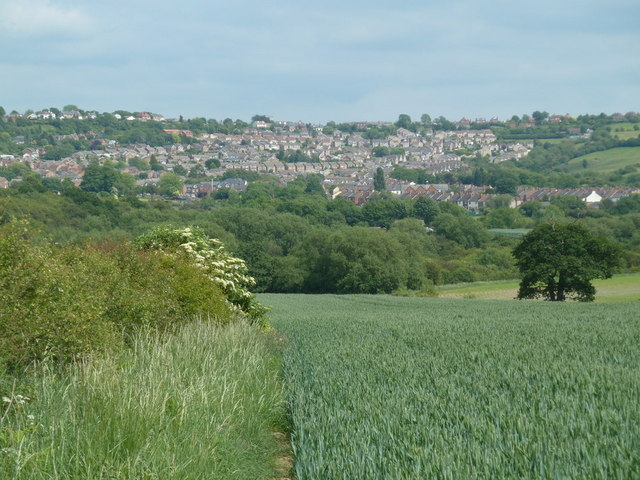 Field footpath and view to Bolsover
