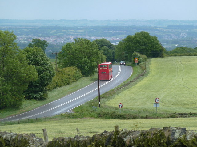 View down to the A619