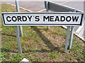 TM2168 : Cordy's Meadow sign by Adrian Cable