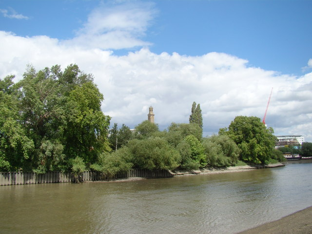 View of the Kew Bridge Steam Museum tower from the Thames riverside path #2