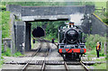 SJ9853 : Locomotive changing tracks at Cheddleton Tunnel #2, Staffordshire by Roger  Kidd