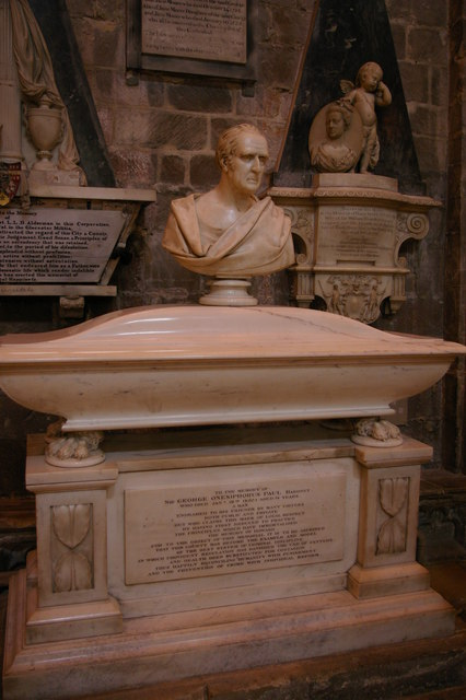 Gloucester Cathedral: monument to Sir George Onesipherous Paul, in nave
