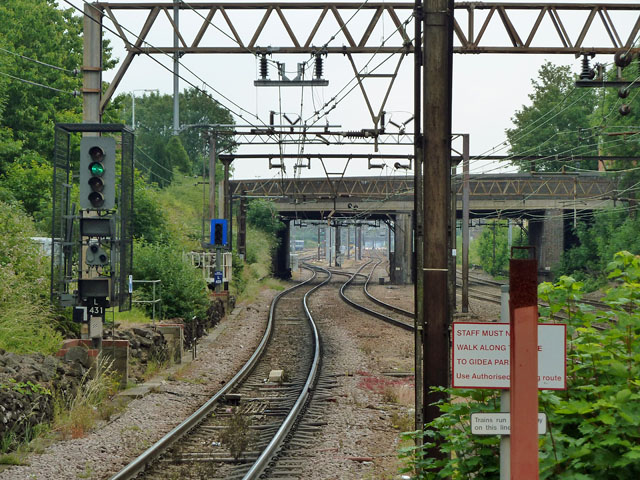 View east from platform end, Gidea Park