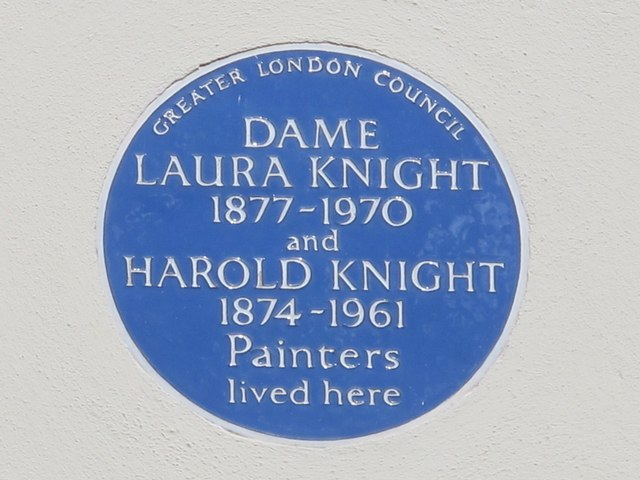 Laura Knight and Harold Knight blue plaque - Dame Laura Knight 1877-1970 and Harold Knight 1874-1961 painters lived here
