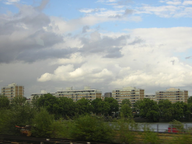 Churchill Gardens estate, from the train across the river