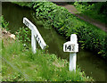 SK0049 : Railway track-side signs at Consall, Staffordshire by Roger  Kidd