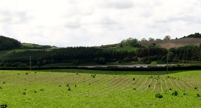 View across farmland towards Lough Money