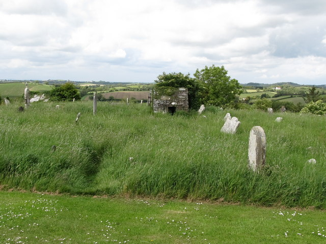 An overgrown section of the grounds of the St Patrick's CoI Church at Saul