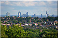TQ2990 : View of the City of London from Alexandra Palace by Julian Osley
