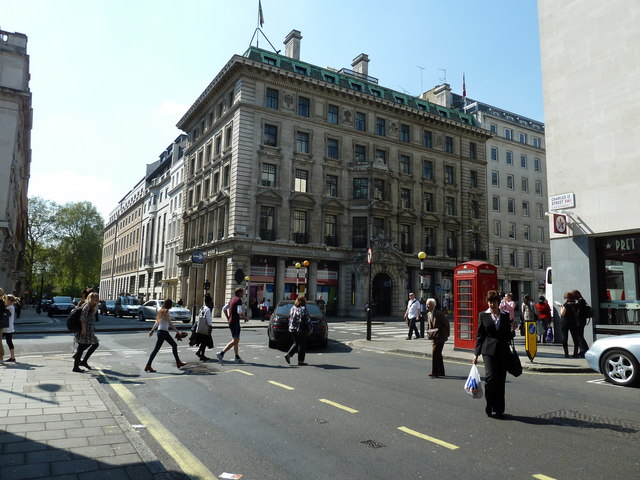 Looking from Charles II Street into Regent Street