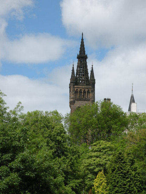 Glasgow University tower and spire