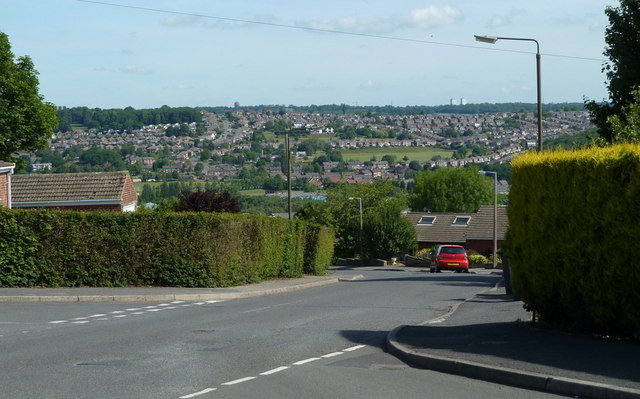 Highgate Lane and view across Dronfield