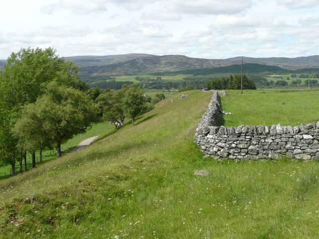 Dry stone wall and track to The Dell of Killiehuntly
