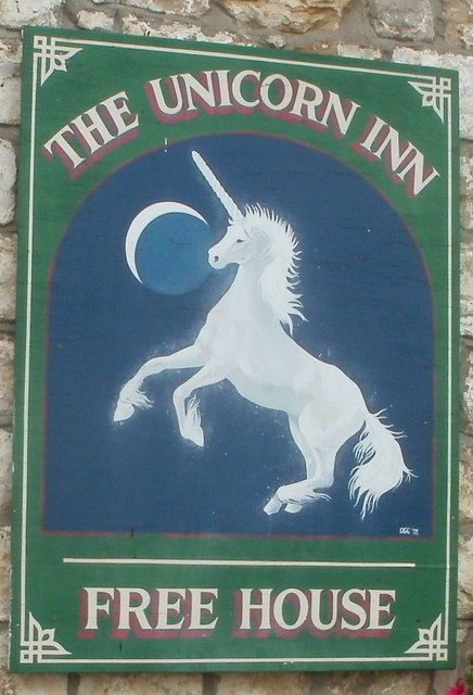 Pub sign, The Unicorn Inn, Cwmynyscoy, Pontypool