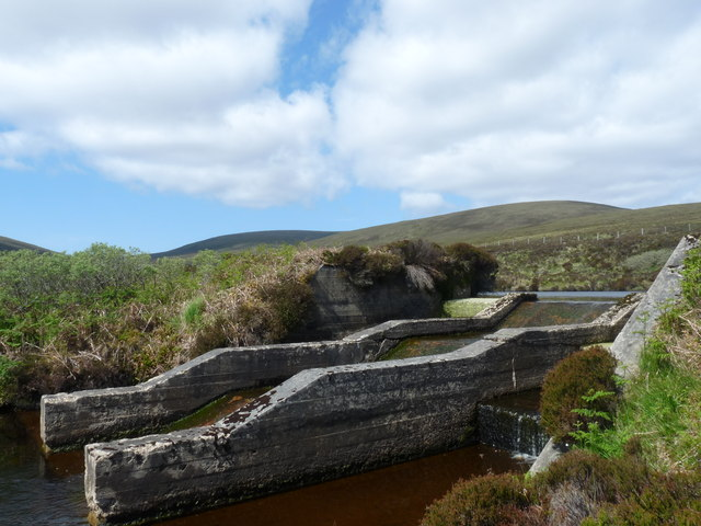Dam and outflow on loch on the Burn of Bailiefea, Hoy, Orkney