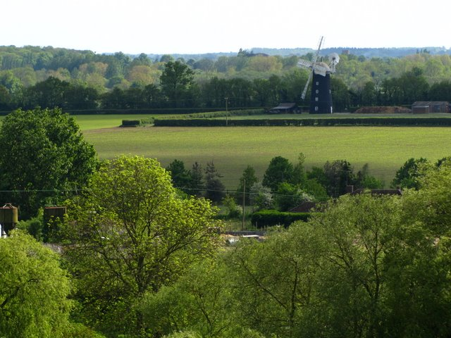 View of Pakenham Windmill from St Mary's church tower Ixworth