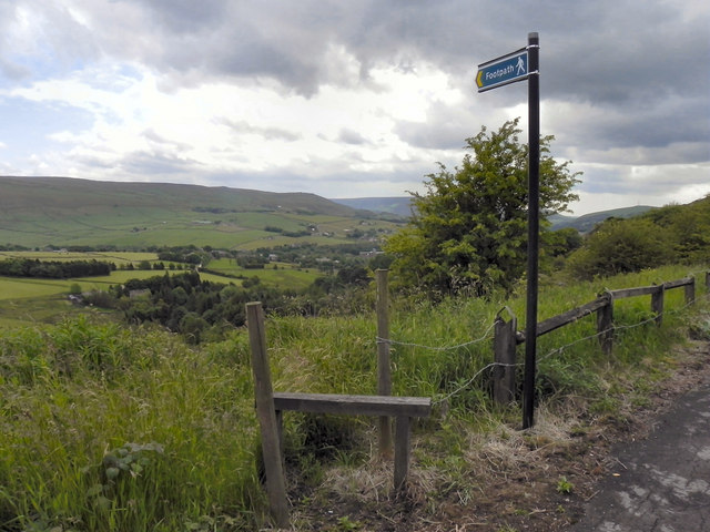 Stile and footpath to Harrop Dale