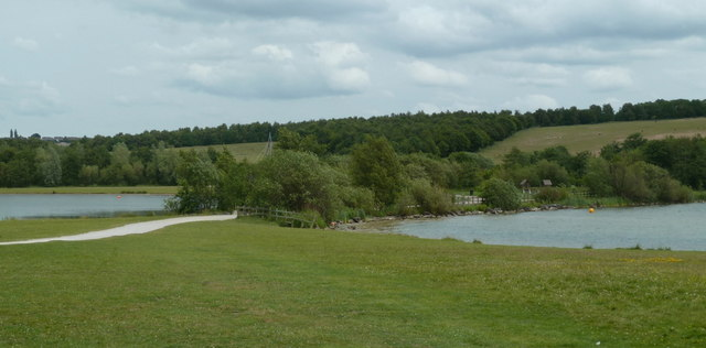 Approaching two of the lakes in Rother Valley Country Park