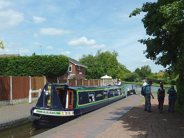 Narrowboat in Swindon Lock near Wombourne, Staffordshire