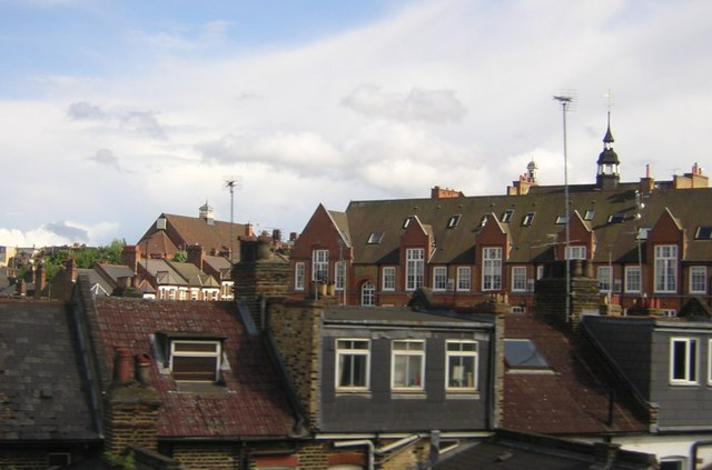 Backs of houses, and schools, near Clapham Junction