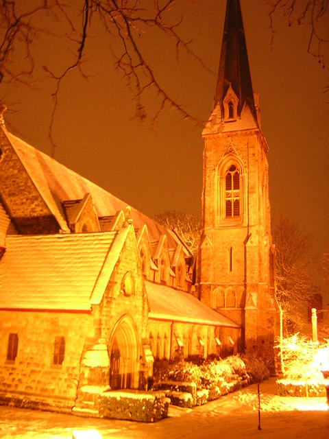 St Stephen's, South Dulwich, on a snowy night