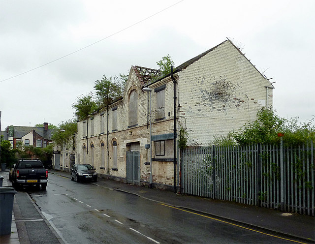 Derelict factory frontages in Shelton, Stoke-on-Trent