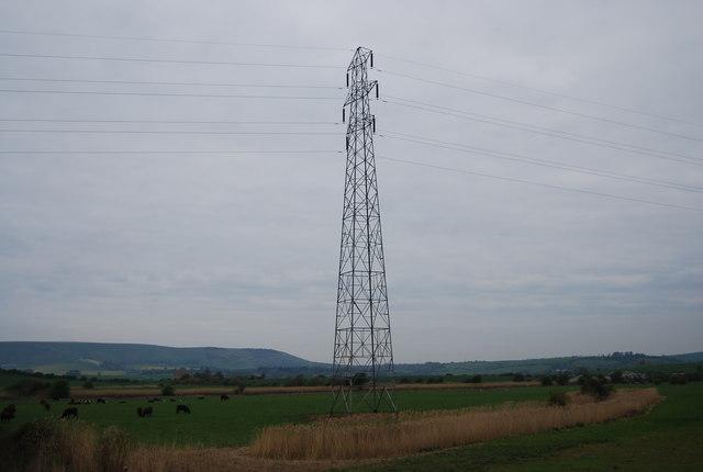 Pylon on the Ouse flood plain