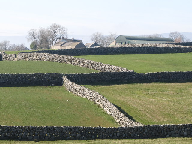Stone wall enclosed fields and traditional farmhouse west of Sabbath Hill