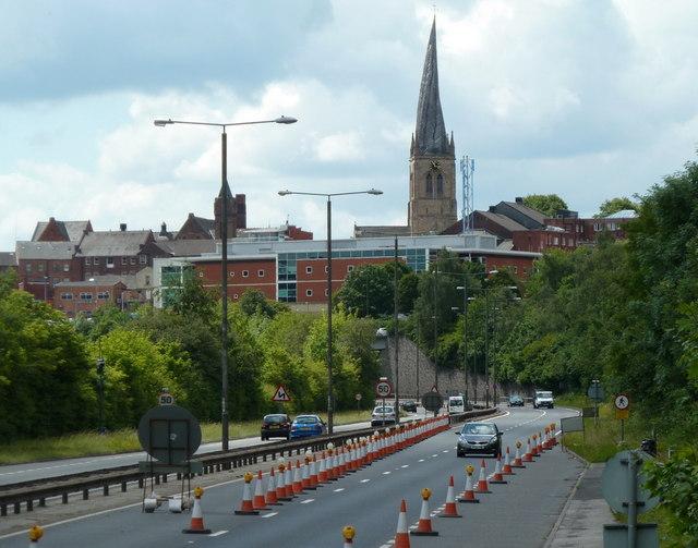 A61 towards Chesterfield town centre