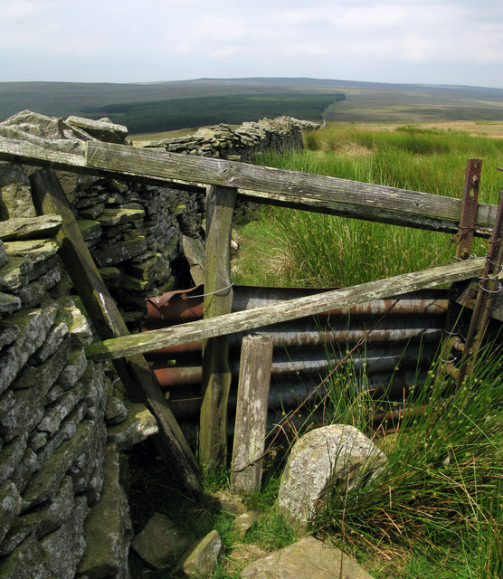 Wall/fence junction on Hard Rigg with boundary stone
