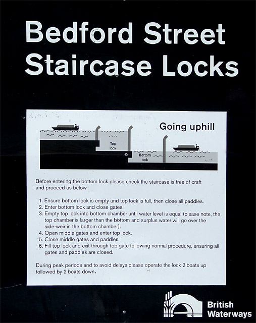 Staircase Locks Instruction board, at Etruria, Stoke-on-Trent