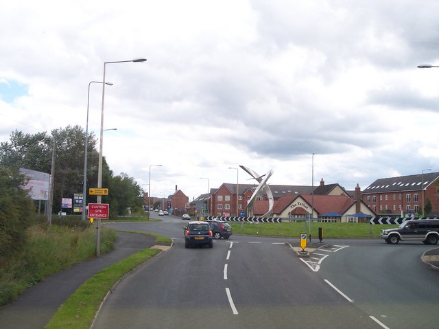 Artwork on the roundabout on Wigan Road