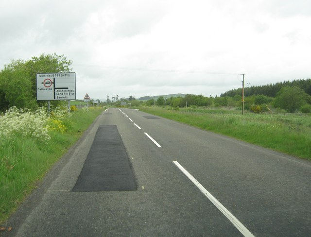 Approaching offset crossroads on the B793