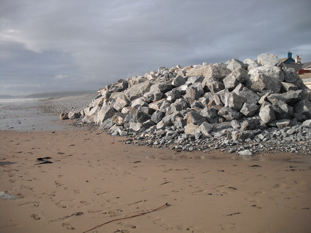 Alien rocks on the beach: Borth sea defences