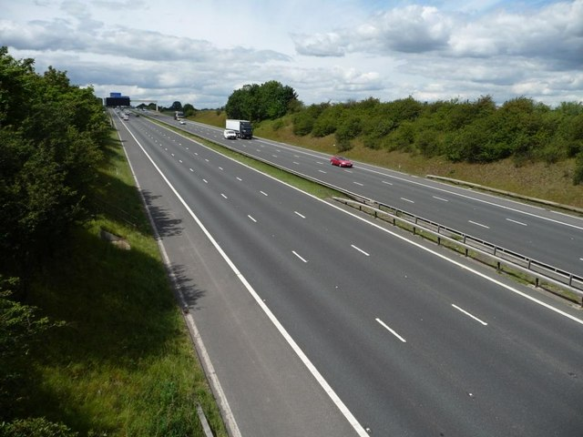 Looking west along the M62
