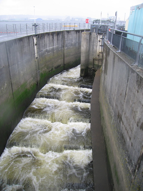 Fish ladder in Cardiff bay barrage