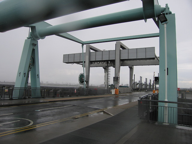 Bascule bridge in Cardiff bay barrage