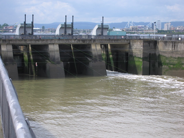 Sluice gates in Cardiff bay barrage