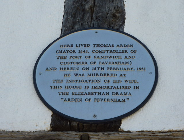 Plaque on Arden's House, Abbey Street, Faversham