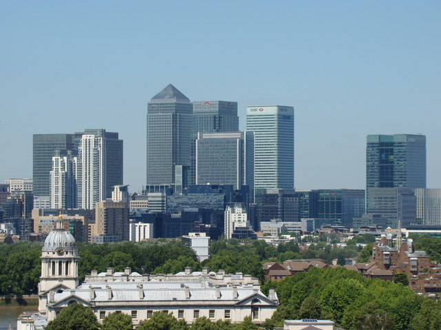 View of Canary Wharf from the hill by the Royal Observatory #2