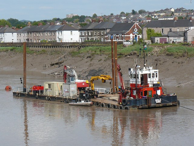 Multi-Cat work boat and pontoon, River Usk, Newport