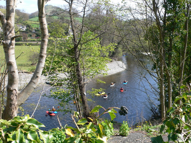 Kayaking on the river Dee near Llangollen